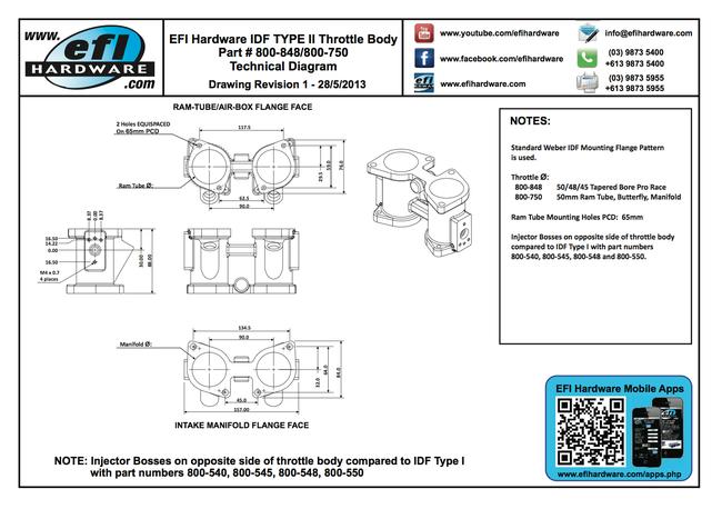 IDF Type II Throttle Body Technical Drawing