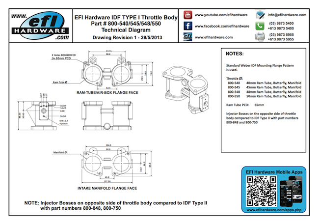 IDF Type I Throttle Body Technical Drawing