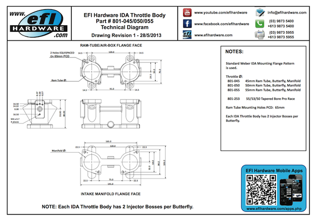 IDA Throttle Body Technical Drawing