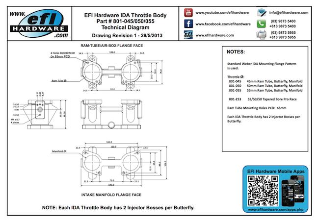 IDA Throttle Body Technical Drawing