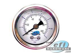 "fuel pressure gauge 1.5"" liquid fill"