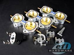 EFI Hardware E-Series 6cyl DCOE throttle block kit including TPS 45mm or 50mm